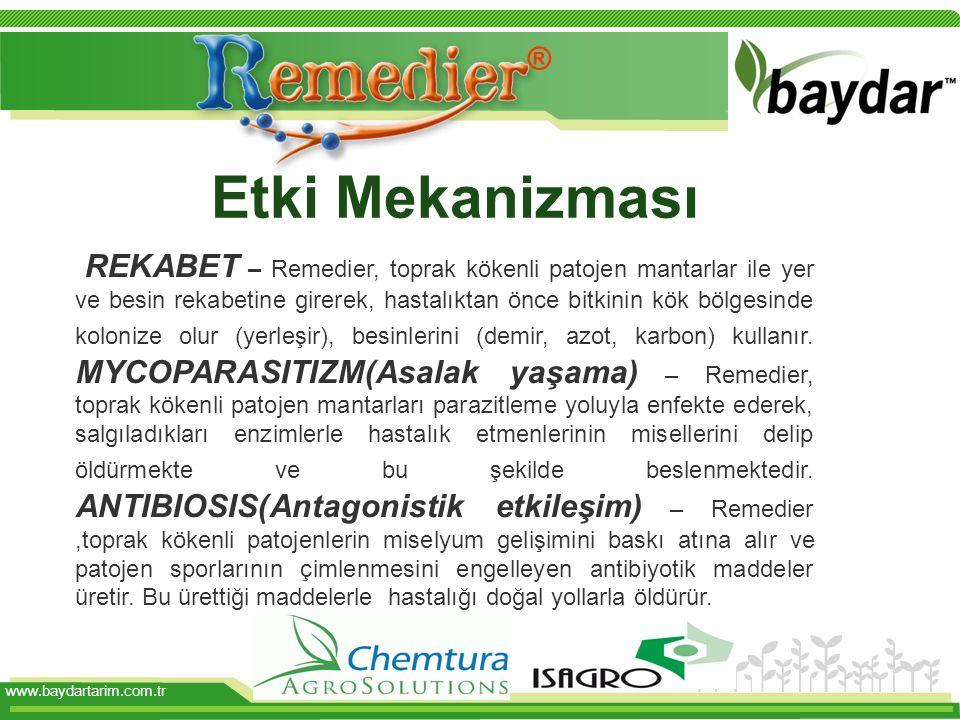 www.baydartarim.com.tr Etki Mekanizması REKABET – Remedier, toprak kökenli patojen mantarlar ile yer ve besin rekabetine girerek, hastalıktan önce bitkinin kök bölgesinde kolonize olur (yerleşir), besinlerini (demir, azot, karbon) kullanır.