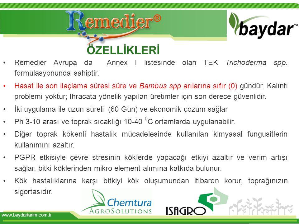 www.baydartarim.com.tr Remedier Avrupa da Annex I listesinde olan TEK Trichoderma spp.