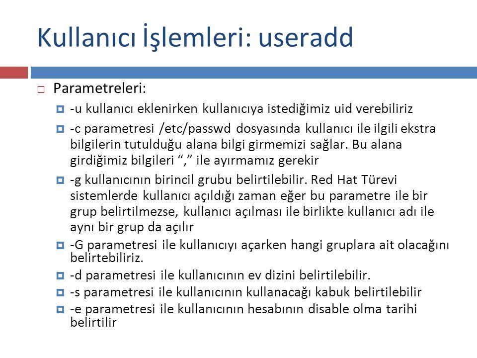Kullanıcı İşlemleri: useradd  Parametreleri:  -u kullanıcı eklenirken kullanıcıya istediğimiz uid verebiliriz  -c parametresi /etc/passwd dosyasınd