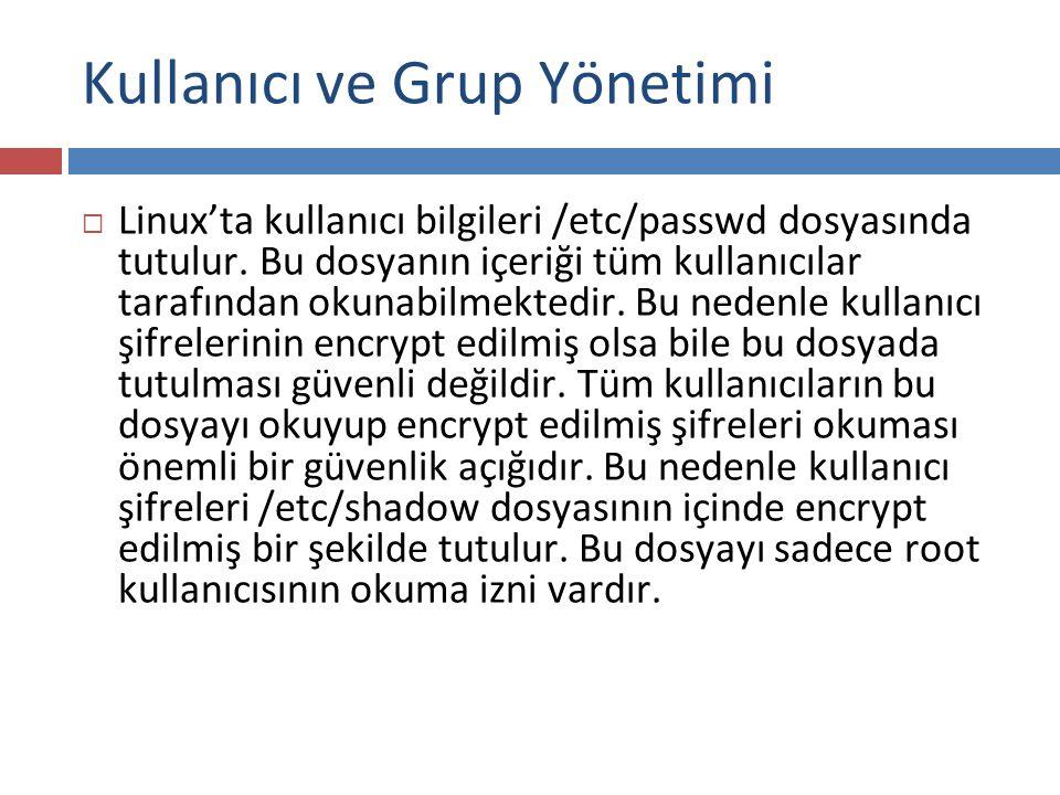  Linux'ta gruplar ile ilgili bilgiler /etc/group dosyasında tutulur.