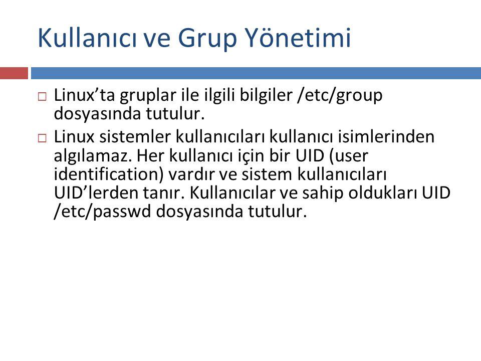  Linux'ta gruplar ile ilgili bilgiler /etc/group dosyasında tutulur.  Linux sistemler kullanıcıları kullanıcı isimlerinden algılamaz. Her kullanıcı