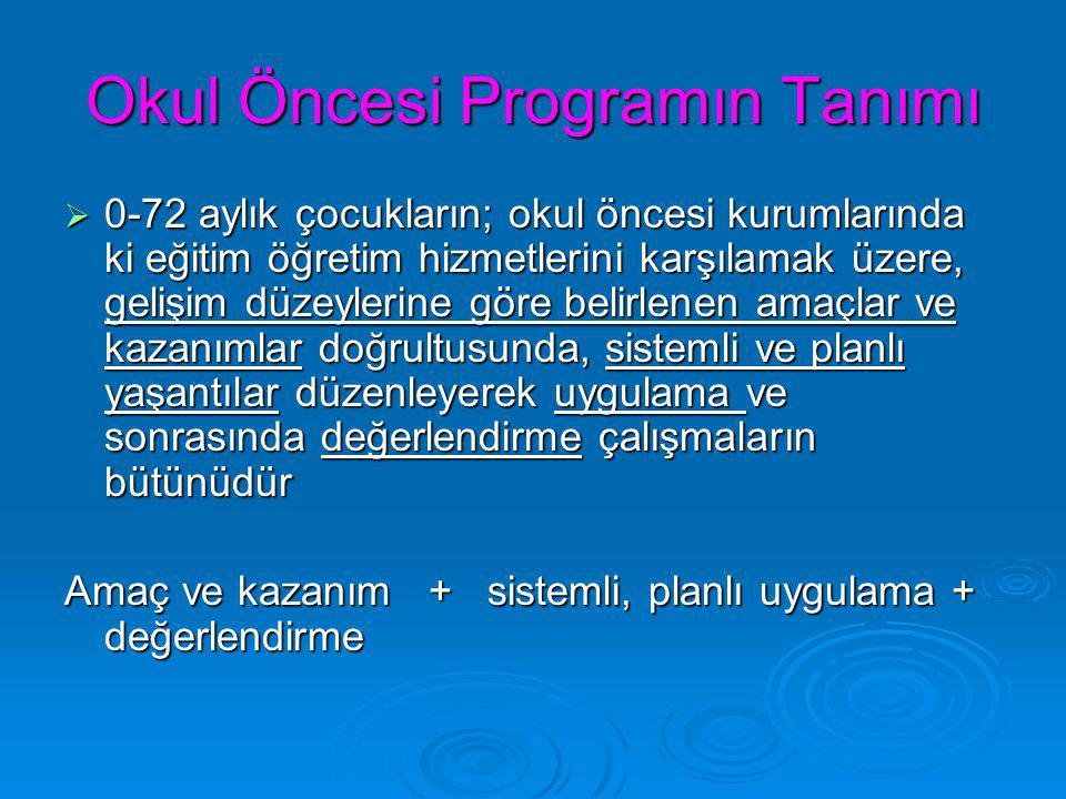 Okul Öncesi Programın Tanımı  0-72 aylık çocukların; okul öncesi kurumlarında ki eğitim öğretim hizmetlerini karşılamak üzere, gelişim düzeylerine gö