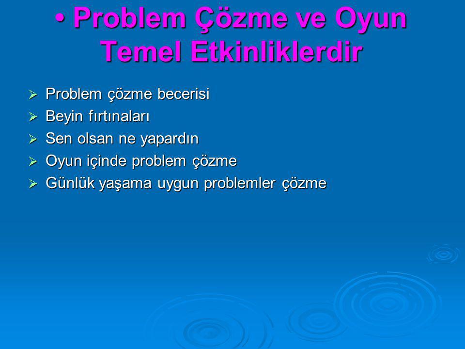 Problem Çözme ve Oyun Temel Etkinliklerdir Problem Çözme ve Oyun Temel Etkinliklerdir  Problem çözme becerisi  Beyin fırtınaları  Sen olsan ne yapa