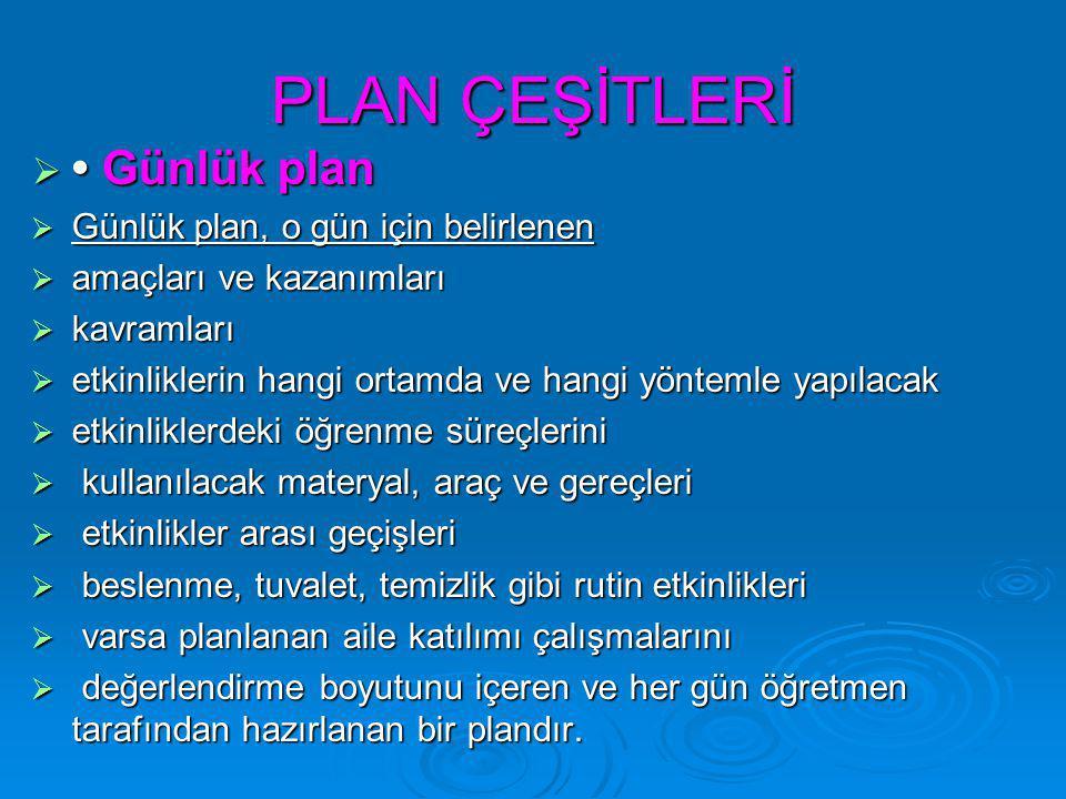 PLAN ÇEŞİTLERİ  Günlük plan  Günlük plan, o gün için belirlenen  amaçları ve kazanımları  kavramları  etkinliklerin hangi ortamda ve hangi yöntem