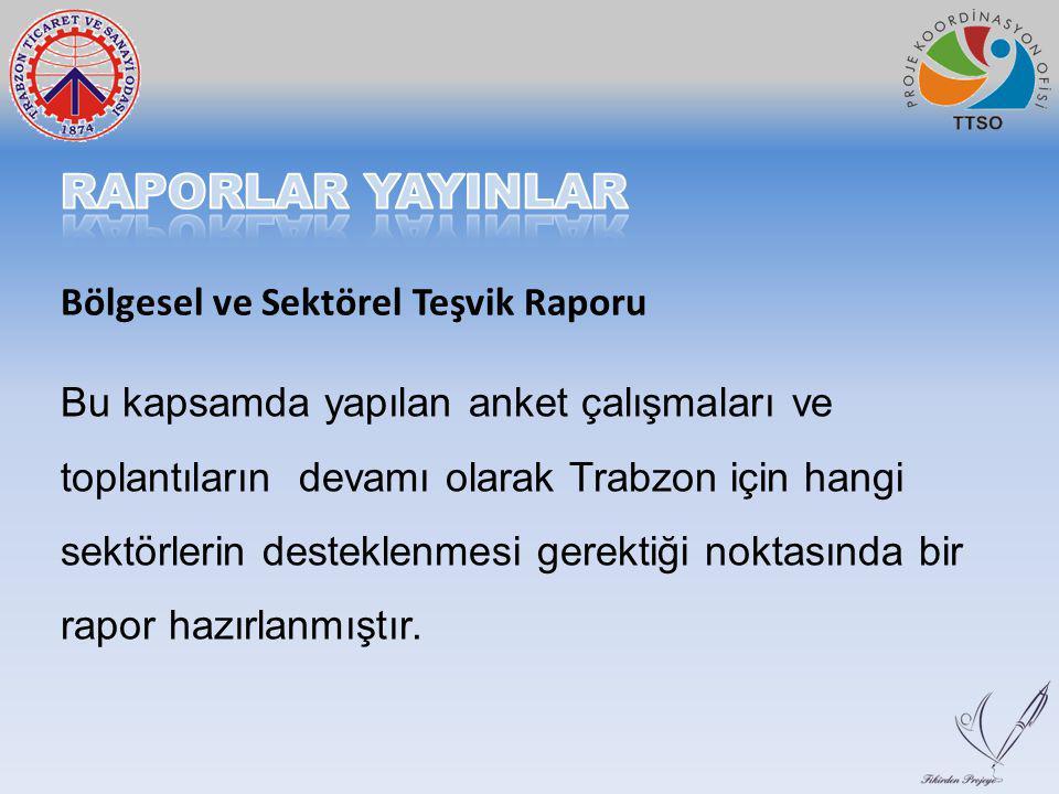 Bu kapsamda yapılan anket çalışmaları ve toplantıların devamı olarak Trabzon için hangi sektörlerin desteklenmesi gerektiği noktasında bir rapor hazırlanmıştır.