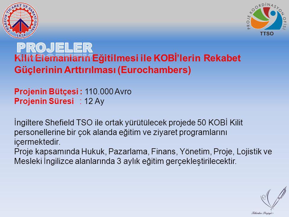 Kilit Elemanların Eğitilmesi ile KOBİ'lerin Rekabet Güçlerinin Arttırılması (Eurochambers) Projenin Bütçesi : 110.000 Avro Projenin Süresi : 12 Ay İng