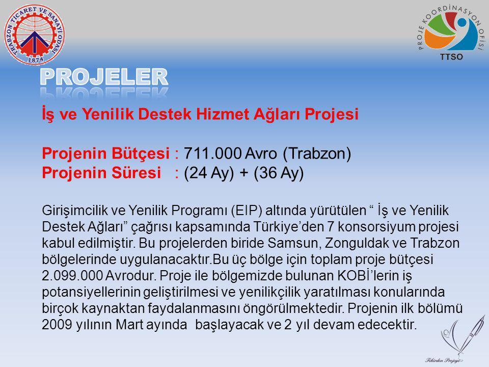 İş ve Yenilik Destek Hizmet Ağları Projesi Projenin Bütçesi : 711.000 Avro (Trabzon) Projenin Süresi : (24 Ay) + (36 Ay) Girişimcilik ve Yenilik Progr