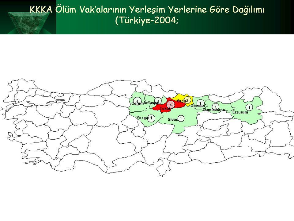 KKKA Ölüm Vak'alarının Yerleşim Yerlerine Göre Dağılımı (Türkiye-2004;