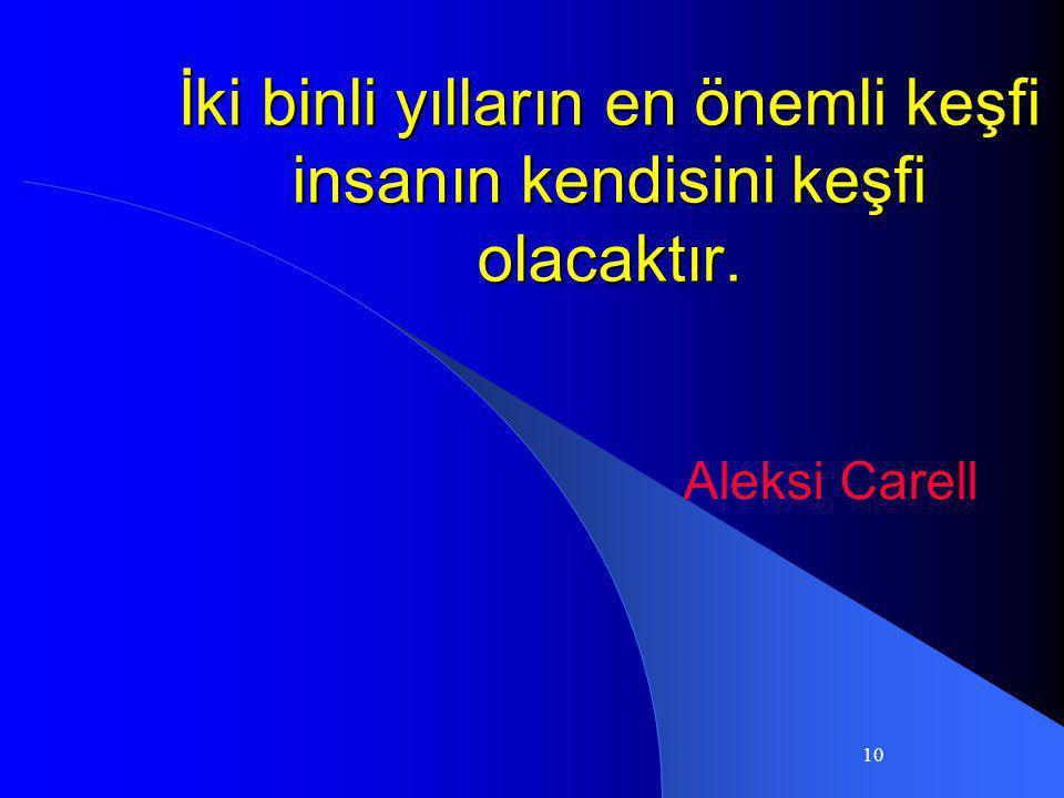 10 İki binli yılların en önemli keşfi insanın kendisini keşfi olacaktır. Aleksi Carell