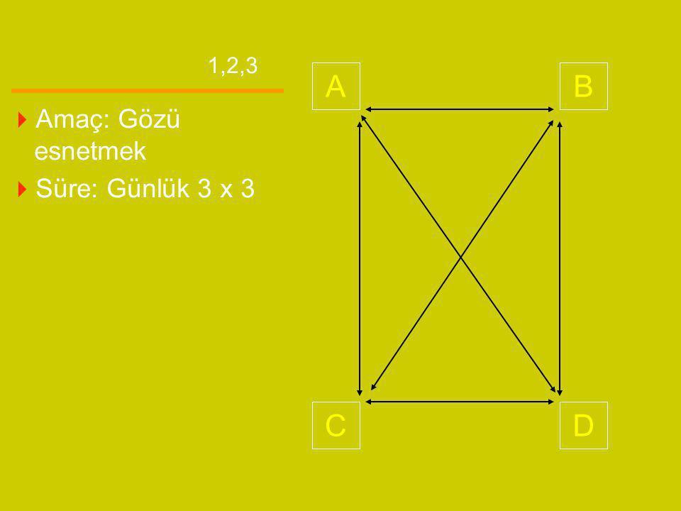AB CD 1,2,3  Amaç: Gözü esnetmek  Süre: Günlük 3 x 3