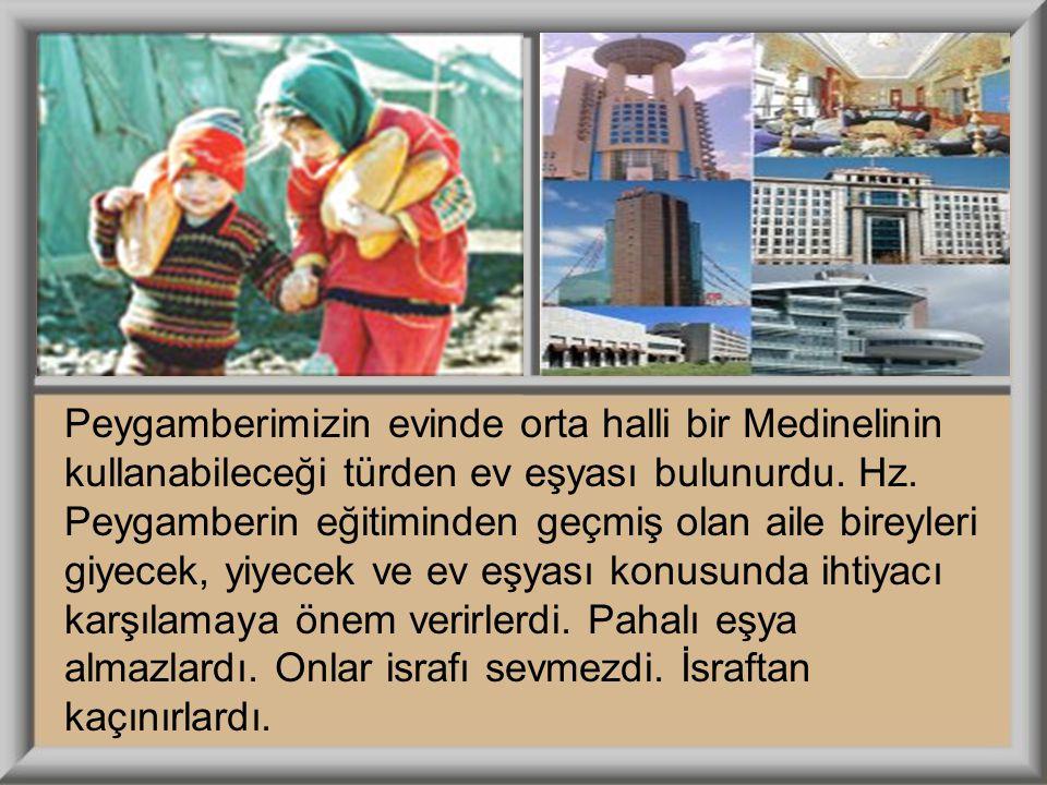 Peygamberimizin evinde orta halli bir Medinelinin kullanabileceği türden ev eşyası bulunurdu. Hz. Peygamberin eğitiminden geçmiş olan aile bireyleri g