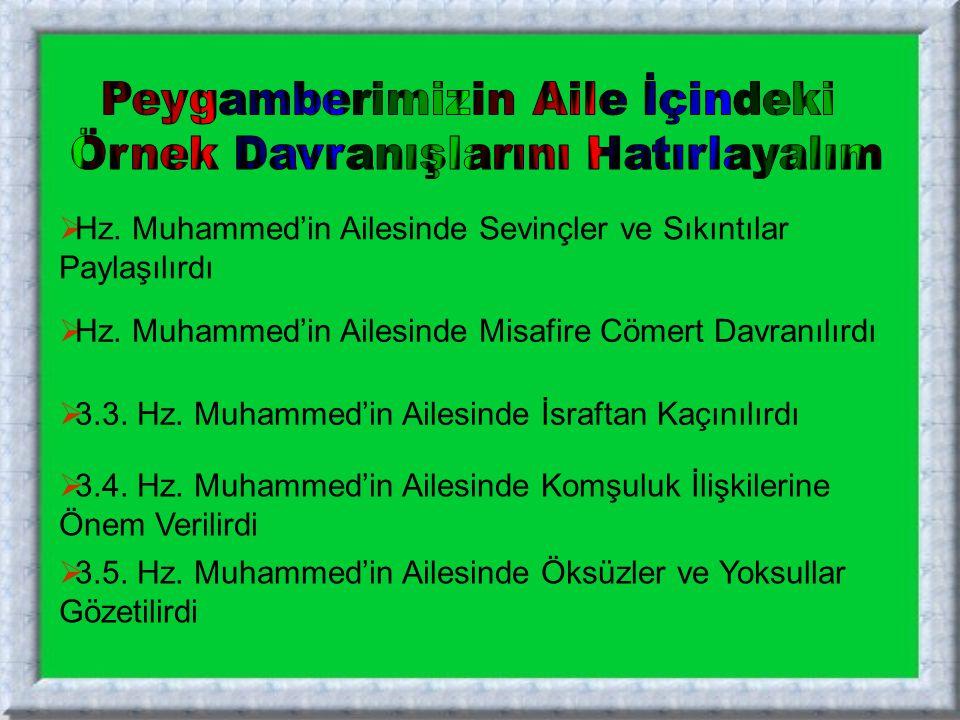  3.5. Hz. Muhammed'in Ailesinde Öksüzler ve Yoksullar Gözetilirdi 3.5. Hz. Muhammed'in Ailesinde Öksüzler ve Yoksullar Gözetilirdi  3.4. Hz. Muhamme
