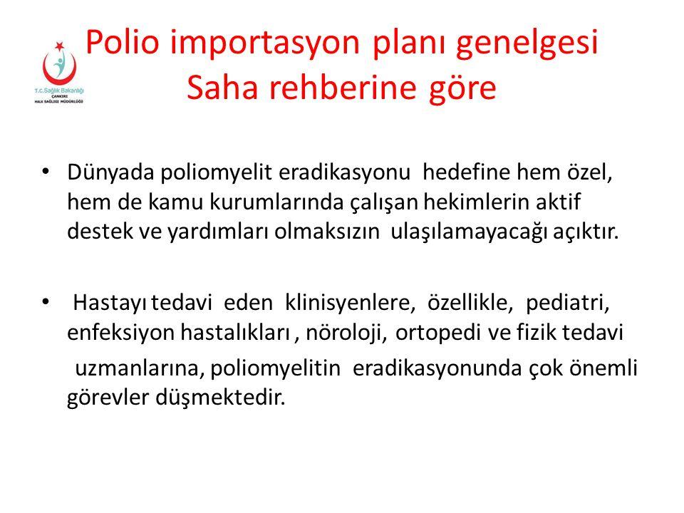 Polio importasyon planı genelgesi Saha rehberine göre Dünyada poliomyelit eradikasyonu hedefine hem özel, hem de kamu kurumlarında çalışan hekimlerin
