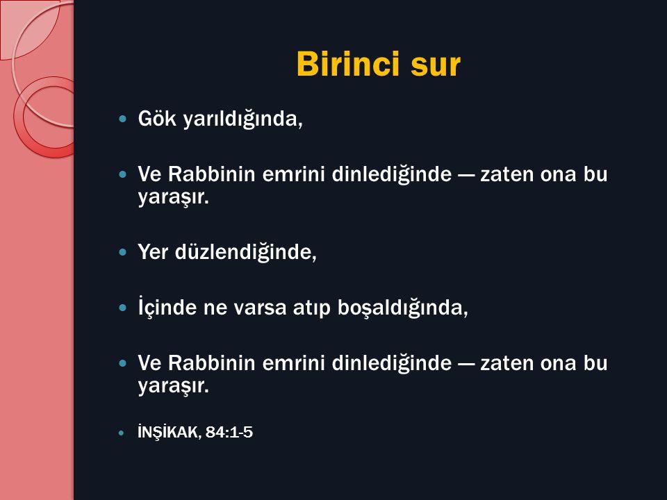 Birinci sur Gök yarıldığında, Ve Rabbinin emrini dinlediğinde — zaten ona bu yaraşır. Yer düzlendiğinde, İçinde ne varsa atıp boşaldığında, Ve Rabbini