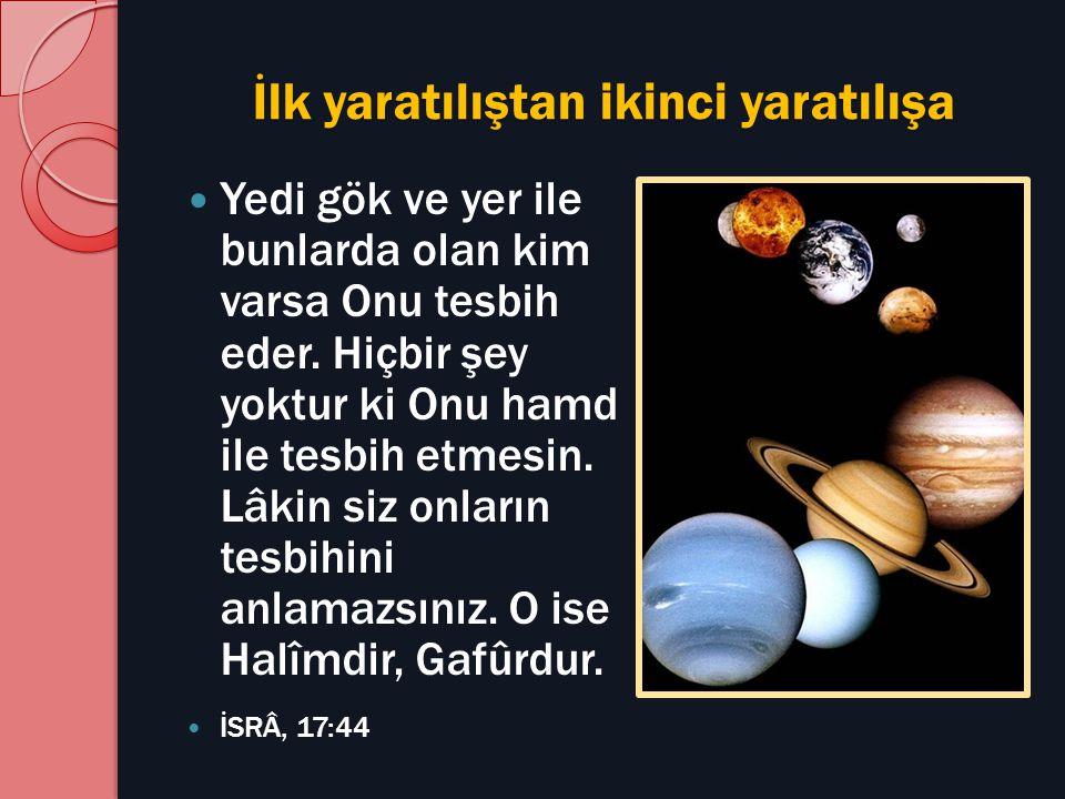 İlk yaratılıştan ikinci yaratılışa Yedi gök ve yer ile bunlarda olan kim varsa Onu tesbih eder. Hiçbir şey yoktur ki Onu hamd ile tesbih etmesin. Lâki