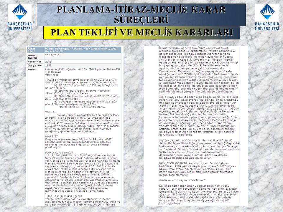 PLANLAMA-İTİRAZ-MECLİS KARAR SÜREÇLERİ PLAN TEKLİFİ VE MECLİS KARARLARI