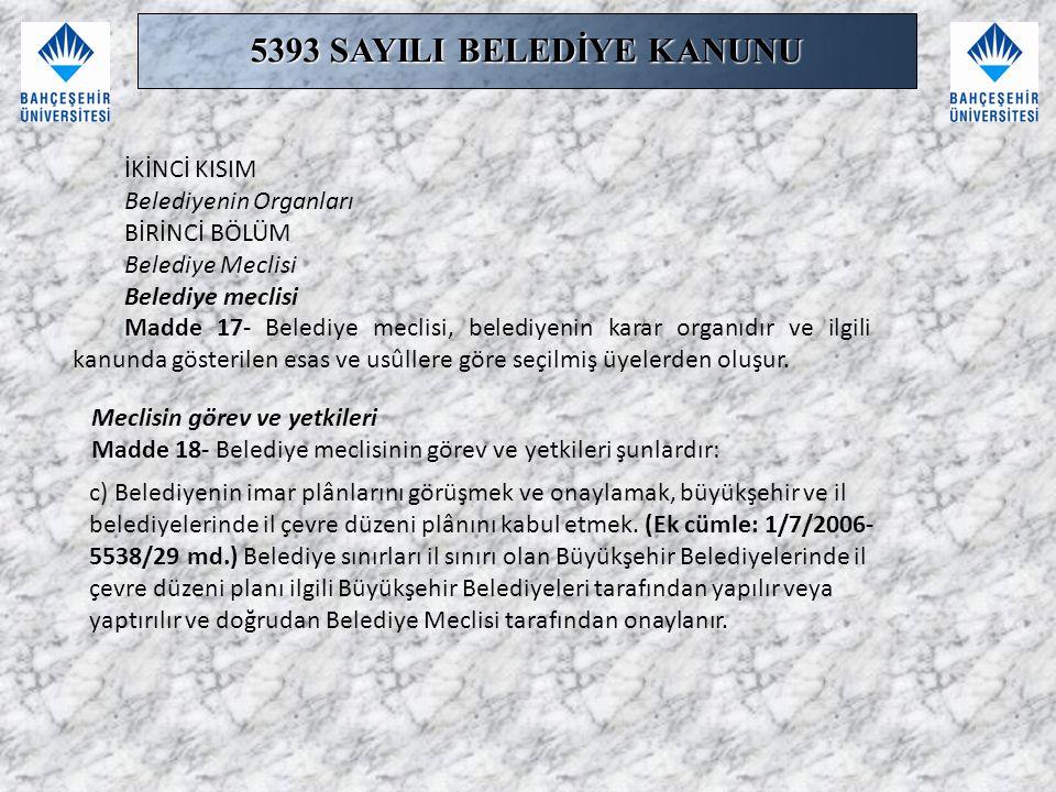İKİNCİ KISIM Belediyenin Organları BİRİNCİ BÖLÜM Belediye Meclisi Belediye meclisi Madde 17- Belediye meclisi, belediyenin karar organıdır ve ilgili k