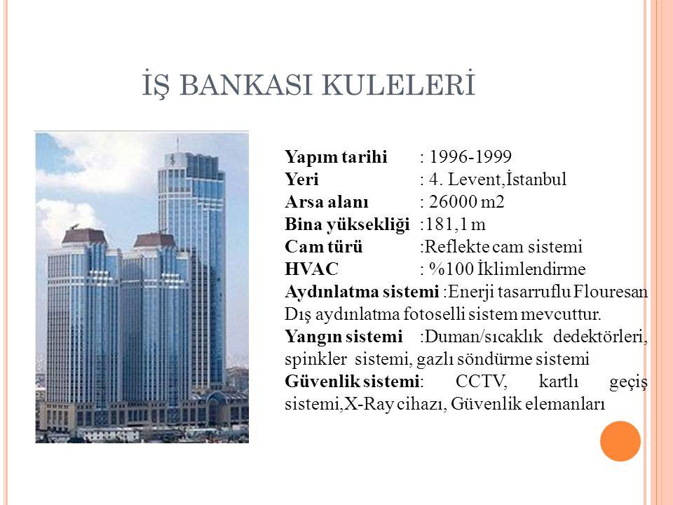 İŞ BANKASI KULELERİ Yapım tarihi: 1996-1999 Yeri: 4. Levent,İstanbul Arsa alanı: 26000 m2 Bina yüksekliği:181,1 m Cam türü:Reflekte cam sistemi HVAC: