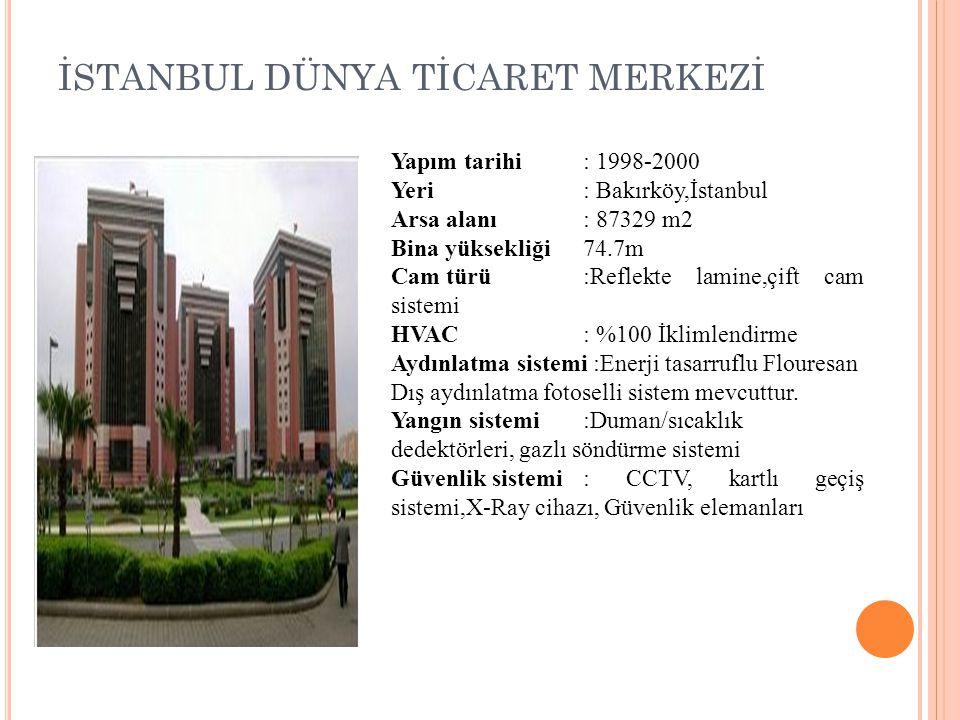 İSTANBUL DÜNYA TİCARET MERKEZİ Yapım tarihi: 1998-2000 Yeri: Bakırköy,İstanbul Arsa alanı: 87329 m2 Bina yüksekliği74.7m Cam türü:Reflekte lamine,çift