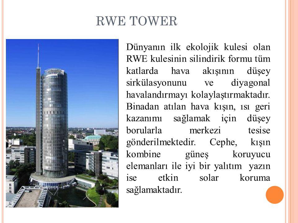 RWE TOWER Dünyanın ilk ekolojik kulesi olan RWE kulesinin silindirik formu tüm katlarda hava akışının düşey sirkülasyonunu ve diyagonal havalandırmayı