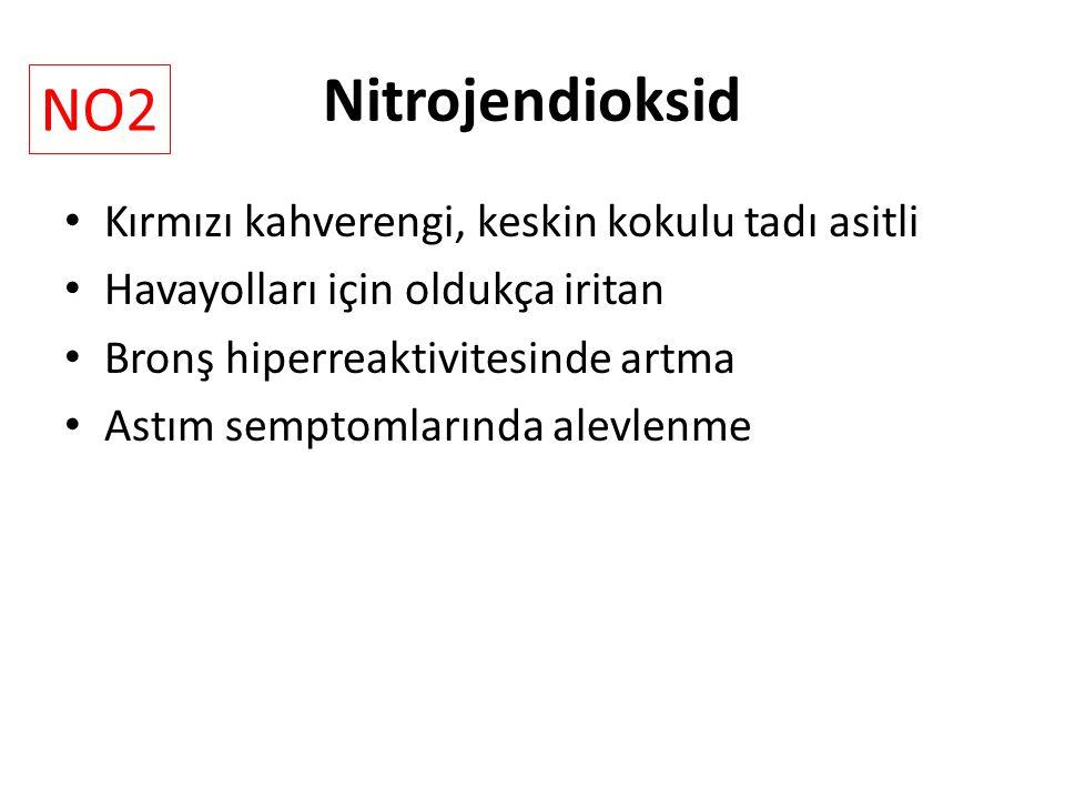 Nitrojendioksid Kırmızı kahverengi, keskin kokulu tadı asitli Havayolları için oldukça iritan Bronş hiperreaktivitesinde artma Astım semptomlarında alevlenme NO2