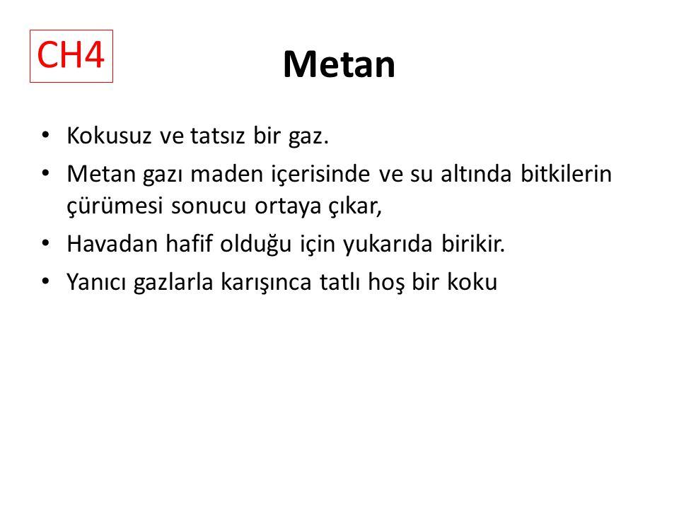 Metan Kokusuz ve tatsız bir gaz.