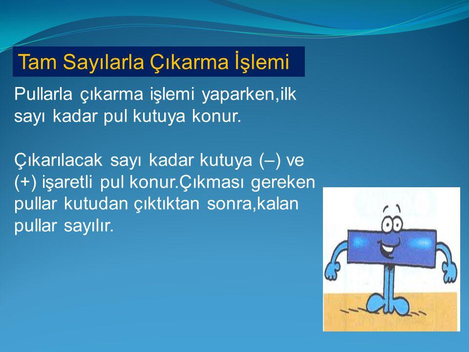 Örnek : Samsun'da sıcaklık 4 derece azalırsa sıcaklık kaç derece olur ? Çözüm : -- -- + + -- (+2)(-4)(-2)+ GERİ