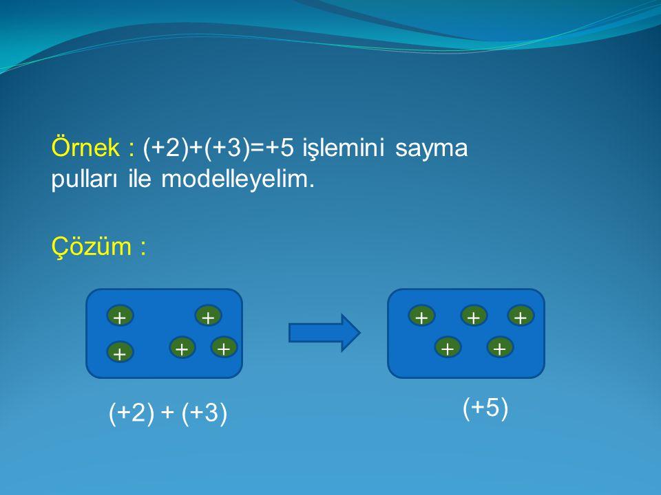 Örnek : (+2)+(+3)=+5 işlemini sayma pulları ile modelleyelim.