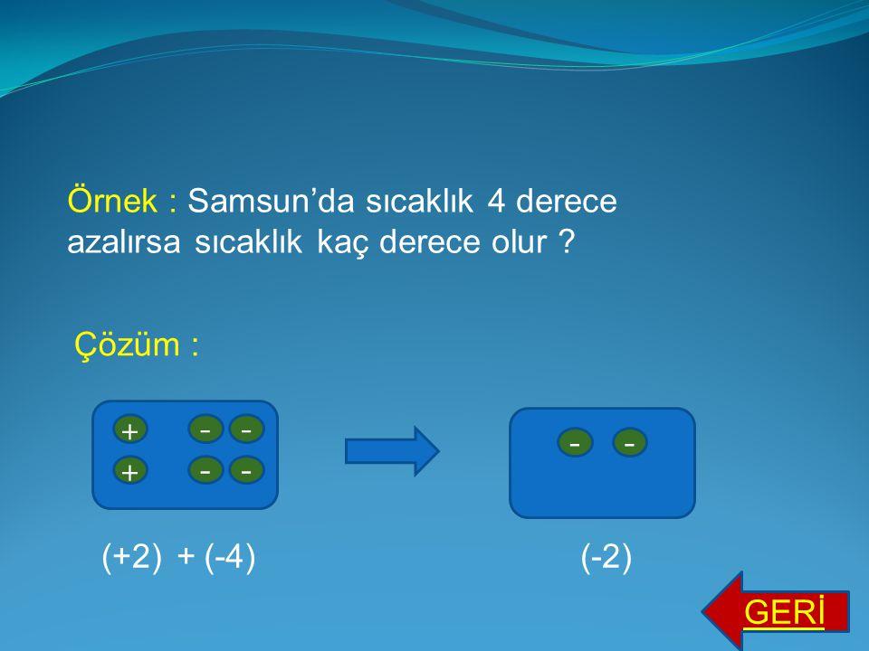 Örnek:Erzurum'da sıcaklık 3 derece azalırsa sıcaklık kaç derece olur ? Çözüm : -- -- - -- - ---- ---- (-5)(-3)(-8)+