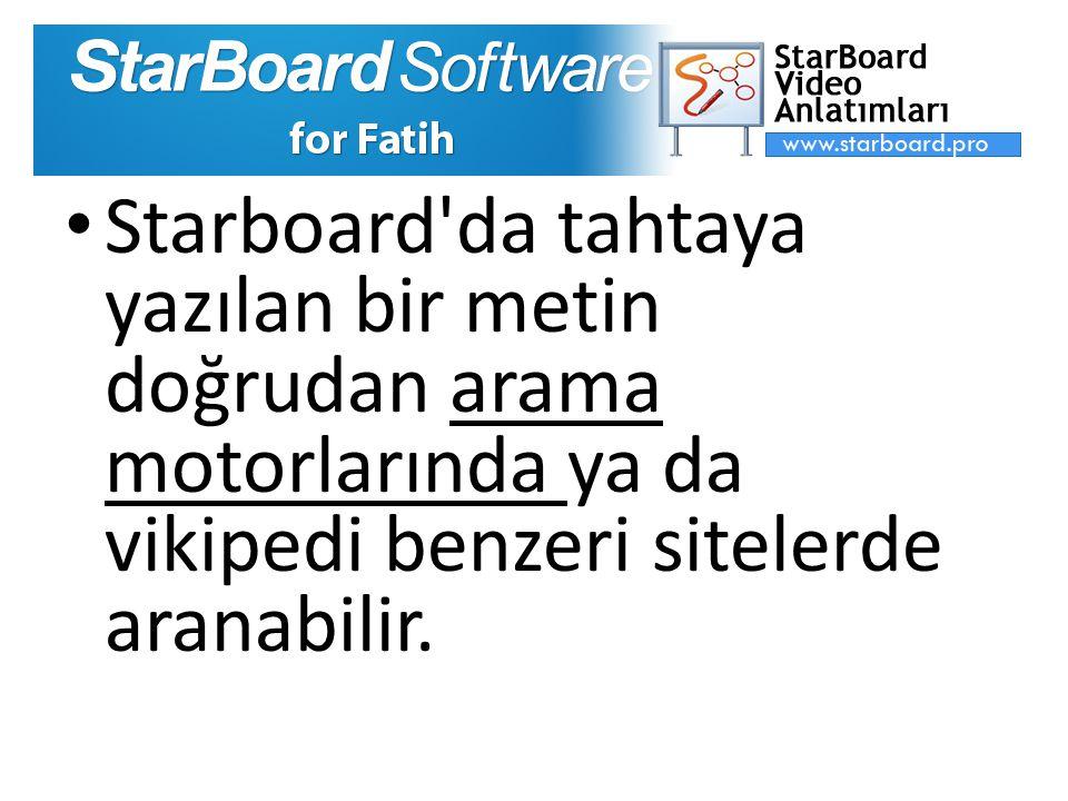Starboard da tahtaya yazılan bir metin doğrudan arama motorlarında ya da vikipedi benzeri sitelerde aranabilir.