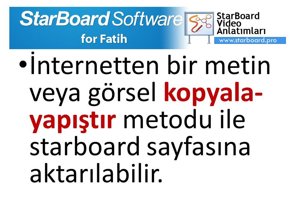 İnternetten bir metin veya görsel kopyala- yapıştır metodu ile starboard sayfasına aktarılabilir.