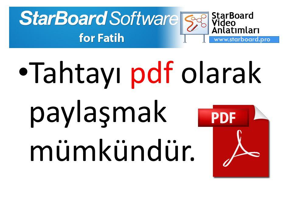 Tahtayı pdf olarak paylaşmak mümkündür.