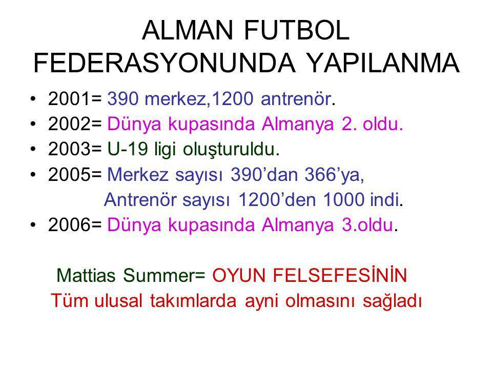 ALMAN FUTBOL FEDERASYONUNDA YAPILANMA 2001= 390 merkez,1200 antrenör.
