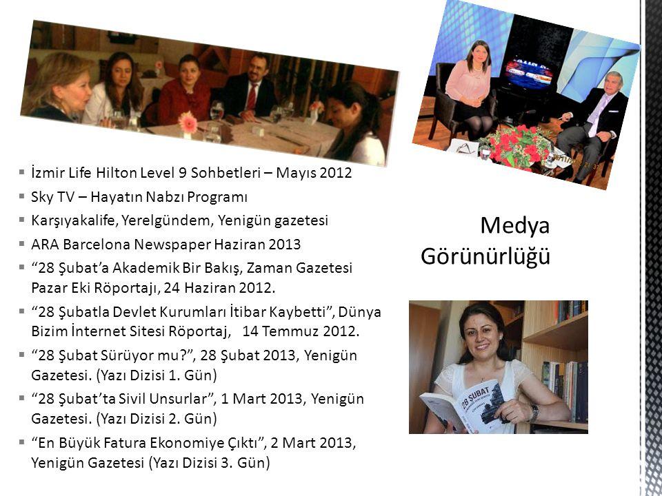  İzmir Life Hilton Level 9 Sohbetleri – Mayıs 2012  Sky TV – Hayatın Nabzı Programı  Karşıyakalife, Yerelgündem, Yenigün gazetesi  ARA Barcelona N