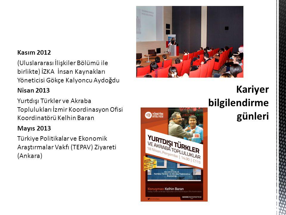 Kasım 2012 (Uluslararası İlişkiler Bölümü ile birlikte) İZKA İnsan Kaynakları Yöneticisi Gökçe Kalyoncu Aydoğdu Nisan 2013 Yurtdışı Türkler ve Akraba