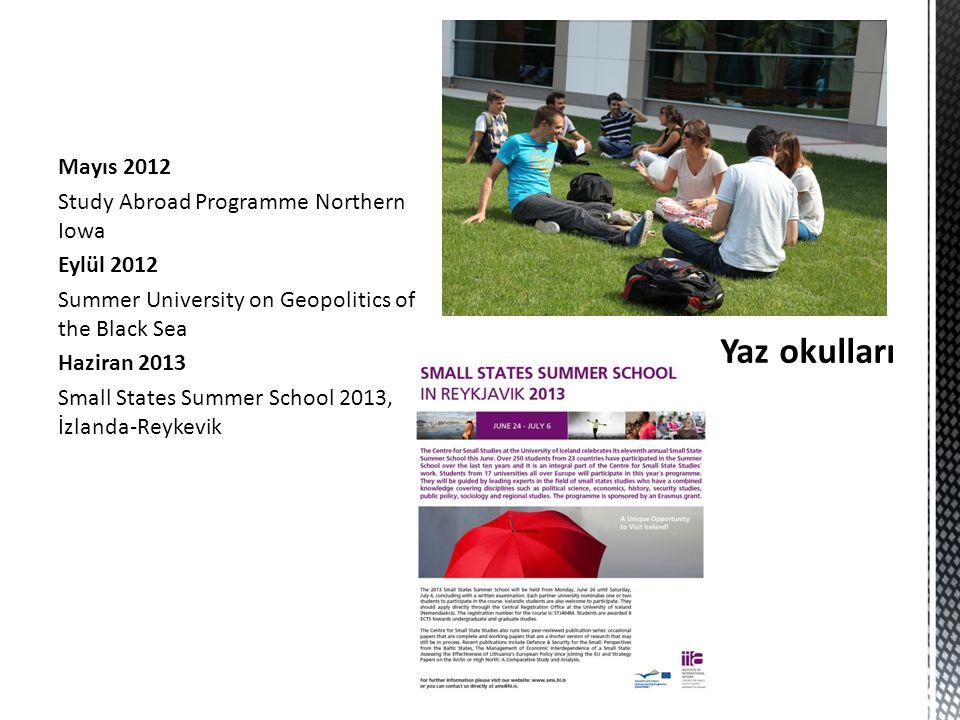 Mayıs 2012 Study Abroad Programme Northern Iowa Eylül 2012 Summer University on Geopolitics of the Black Sea Haziran 2013 Small States Summer School 2