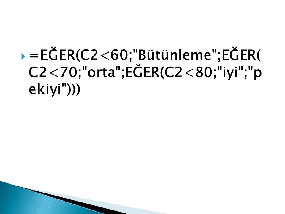  =EĞER(C2<60; Bütünleme ;EĞER( C2<70; orta ;EĞER(C2<80; iyi ; p ekiyi )))
