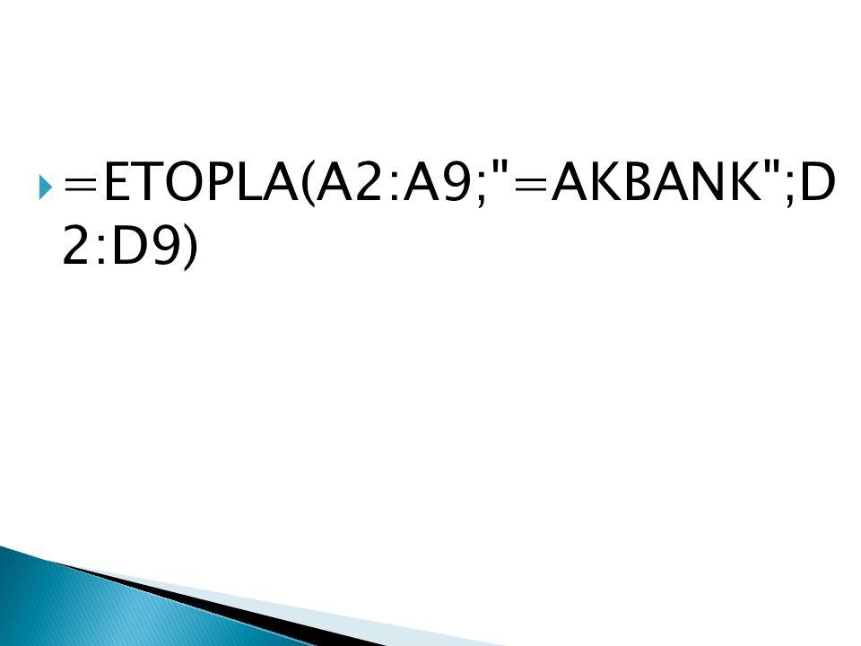  =ETOPLA(A2:A9; =AKBANK ;D 2:D9)
