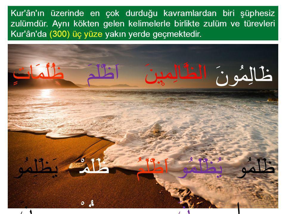 Kur'ân'ın üzerinde en çok durduğu kavramlardan biri şüphesiz zulümdür. Aynı kökten gelen kelimelerle birlikte zulüm ve türevleri Kur'ân'da (300) üç yü
