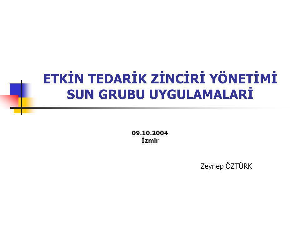 ETKİN TEDARİK ZİNCİRİ YÖNETİMİ SUN GRUBU UYGULAMALARİ 09.10.2004 İzmir Zeynep ÖZTÜRK