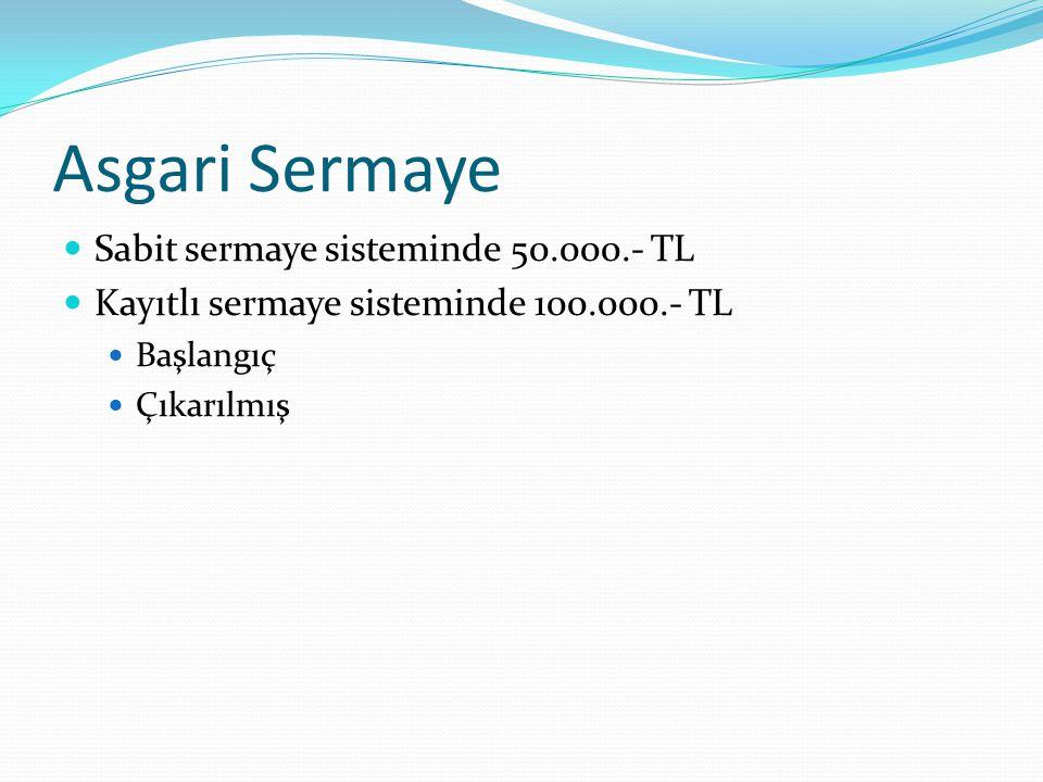 Asgari Sermaye Sabit sermaye sisteminde 50.000.- TL Kayıtlı sermaye sisteminde 100.000.- TL Başlangıç Çıkarılmış