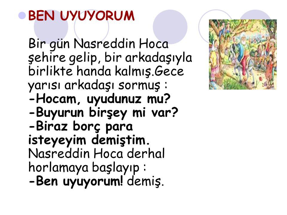 BEN UYUYORUM Bir gün Nasreddin Hoca şehire gelip, bir arkadaşıyla birlikte handa kalmış.Gece yarısı arkadaşı sormuş : -Hocam, uyudunuz mu.