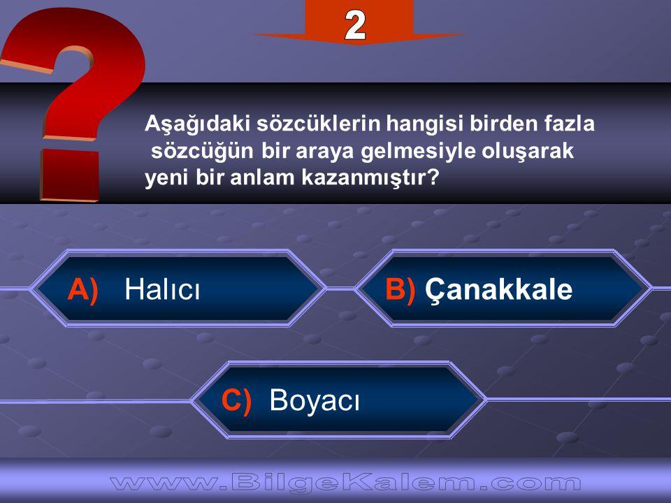 Aşağıdaki sözcüklerin hangisi birden fazla sözcüğün bir araya gelmesiyle oluşarak yeni bir anlam kazanmıştır? A) Halıcı C) Boyacı B) Çanakkale