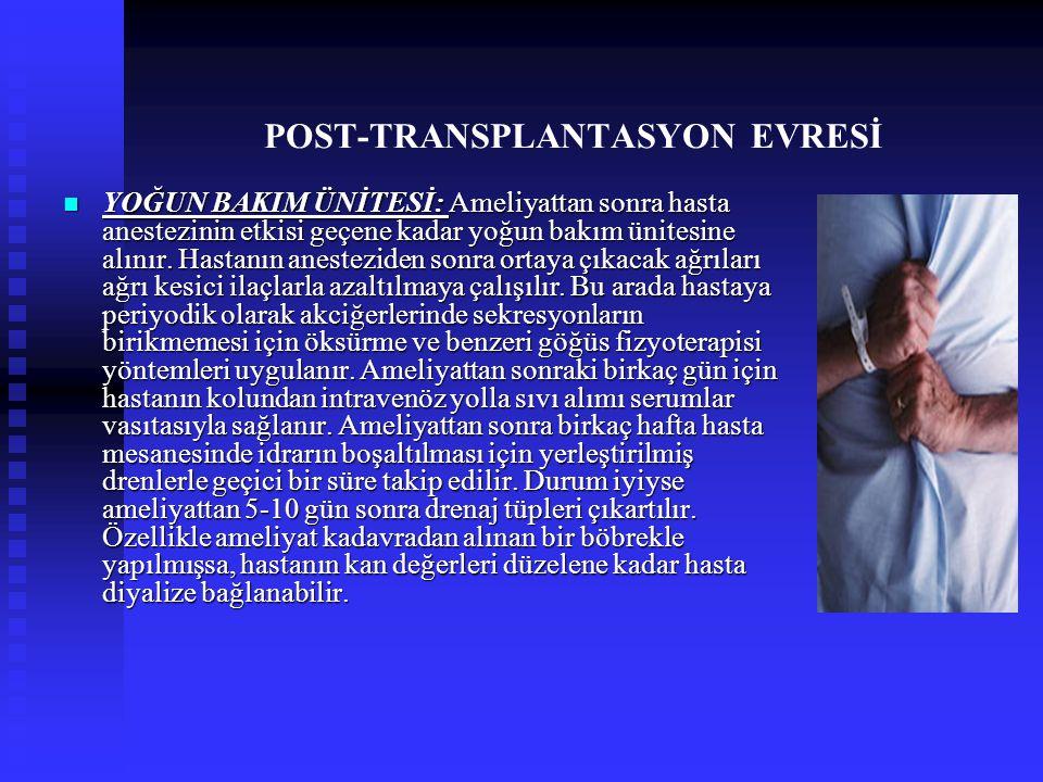 POST-TRANSPLANTASYON EVRESİ YOĞUN BAKIM ÜNİTESİ: Ameliyattan sonra hasta anestezinin etkisi geçene kadar yoğun bakım ünitesine alınır. Hastanın aneste