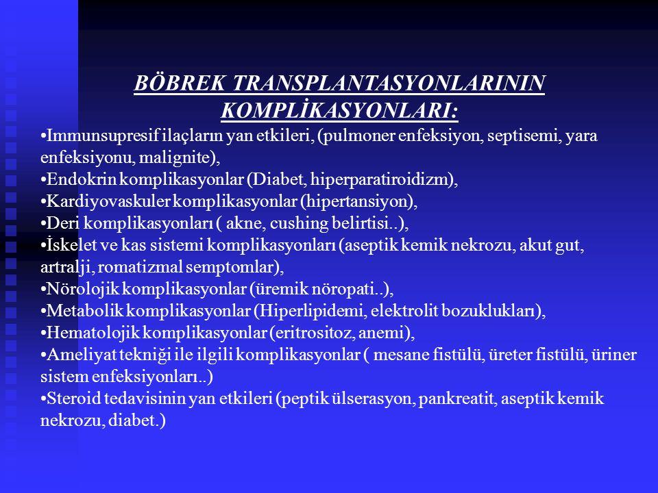 BÖBREK TRANSPLANTASYONLARININ KOMPLİKASYONLARI: Immunsupresif ilaçların yan etkileri, (pulmoner enfeksiyon, septisemi, yara enfeksiyonu, malignite), E