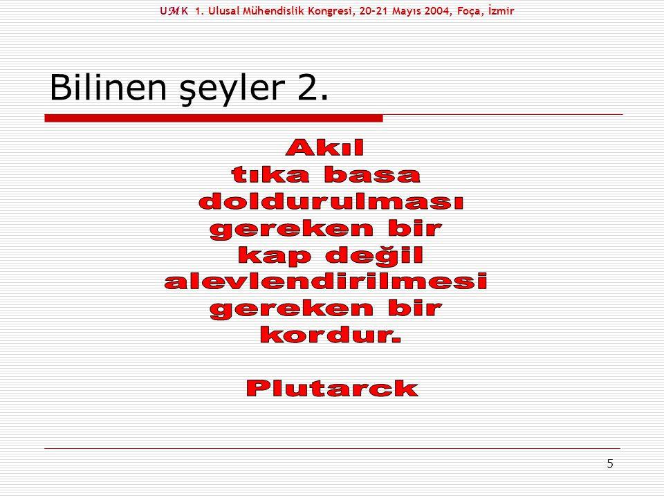 6 Bilinen şeyler 3. U M K 1. Ulusal Mühendislik Kongresi, 20-21 Mayıs 2004, Foça, İzmir