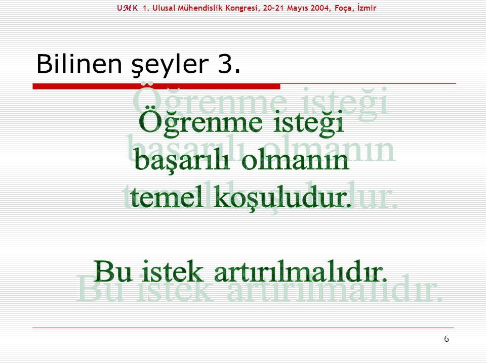 7 Bilinen şeyler 4. U M K 1. Ulusal Mühendislik Kongresi, 20-21 Mayıs 2004, Foça, İzmir