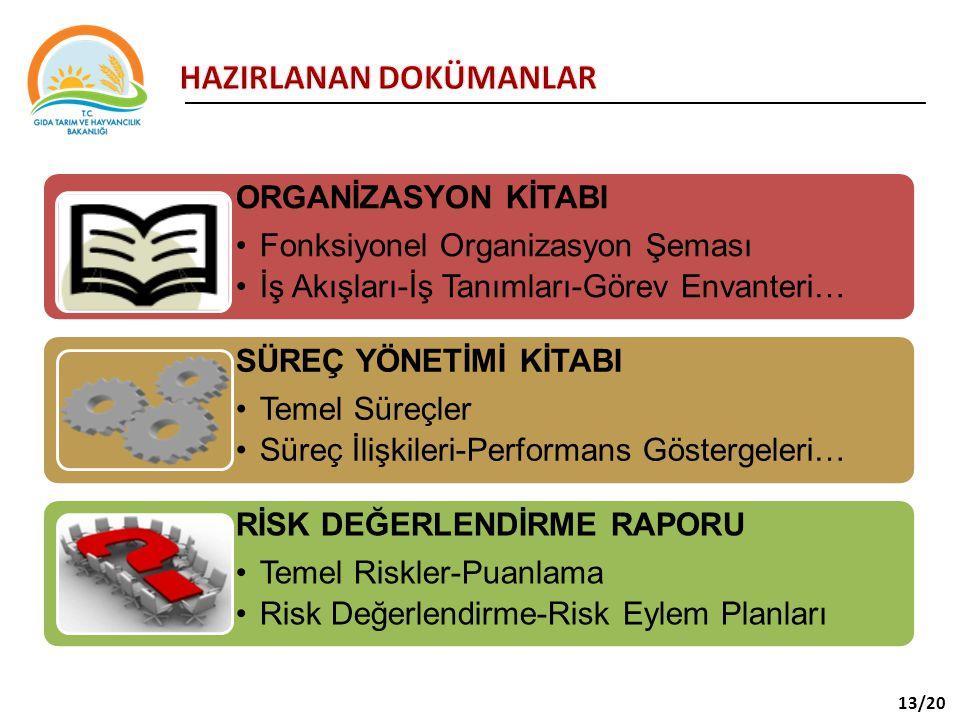 ORGANİZASYON KİTABI Fonksiyonel Organizasyon Şeması İş Akışları-İş Tanımları-Görev Envanteri… SÜREÇ YÖNETİMİ KİTABI Temel Süreçler Süreç İlişkileri-Performans Göstergeleri… RİSK DEĞERLENDİRME RAPORU Temel Riskler-Puanlama Risk Değerlendirme-Risk Eylem Planları 13/20