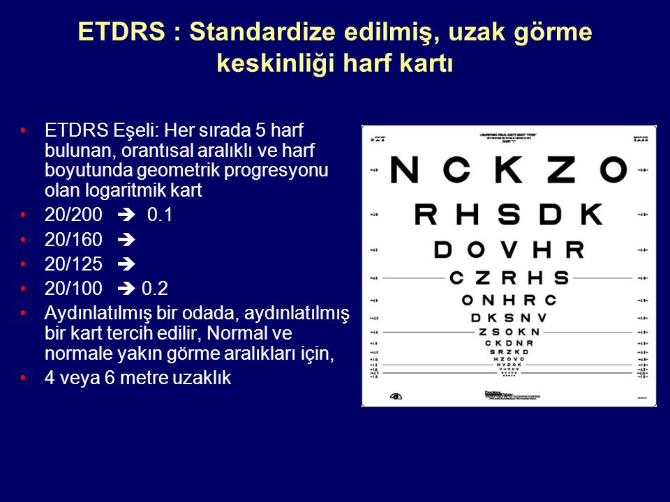 ETDRS : Standardize edilmiş, uzak görme keskinliği harf kartı ETDRS Eşeli: Her sırada 5 harf bulunan, orantısal aralıklı ve harf boyutunda geometrik progresyonu olan logaritmik kart 20/200  0.1 20/160  20/125  20/100  0.2 Aydınlatılmış bir odada, aydınlatılmış bir kart tercih edilir, Normal ve normale yakın görme aralıkları için, 4 veya 6 metre uzaklık