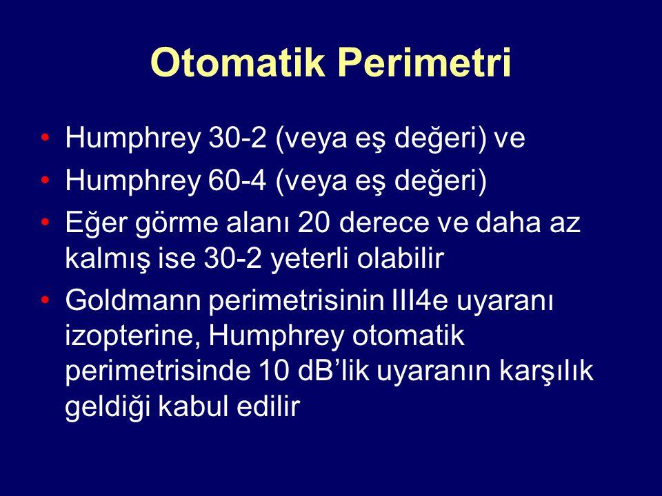 Otomatik Perimetri Humphrey 30-2 (veya eş değeri) ve Humphrey 60-4 (veya eş değeri) Eğer görme alanı 20 derece ve daha az kalmış ise 30-2 yeterli olabilir Goldmann perimetrisinin III4e uyaranı izopterine, Humphrey otomatik perimetrisinde 10 dB'lik uyaranın karşılık geldiği kabul edilir